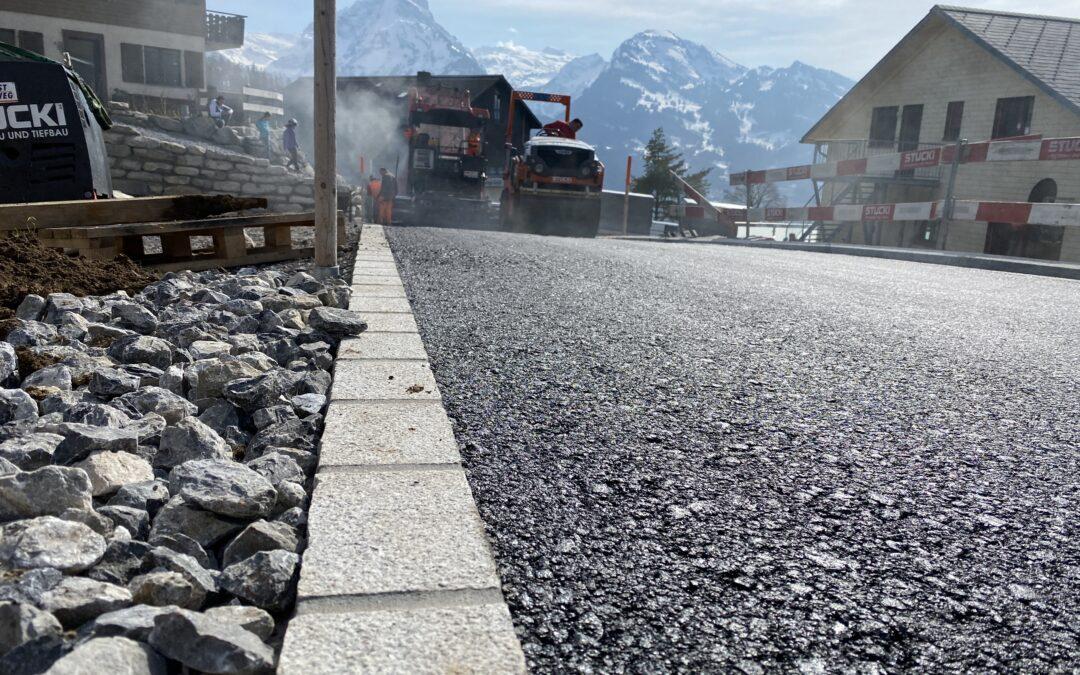 Belagseinbau Rütibügelstrasse, 8873 Amden (März 2021)